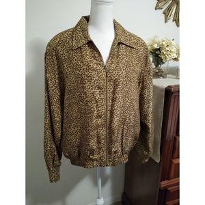 Size M vintage leopard print bomber jacket